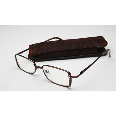 Women's Office Bling Rhinestone Computer Reading Glasses in Brown-Tone Metal