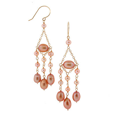 TchuTchuKa by Regina 3-4mm Pink and 6-6.5mm Champagne Cultured Freshwater Pearl Chandelier Earrings in 14K Yellow Gold
