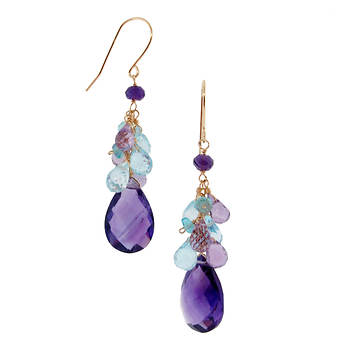 TchuTchuKa by Regina 16.00 ct. t.w. Rondelle and Briolette Blue Topaz and Amethyst Earrings in 14K Yellow Gold