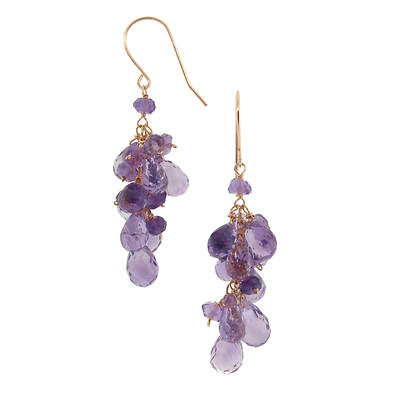 TchuTchuKa by Regina 21.00 ct. t.w. Rondelle and Briolette Amethyst Dangle Earrings in 14K Yellow Gold
