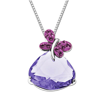 Lauren Taylor 6.80 ct. t.w. Pink and Purple Swarovski Crystal Elements Butterfly Pendant Necklace in Sterling Silver