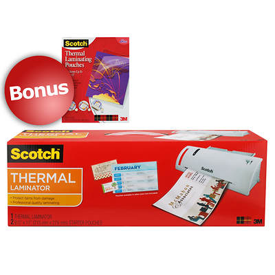 "Scotch Thermal Laminator with LED Display with Bonus 8 1/2"" x 11"" Thermal Laminating Pouches, 50 Count"