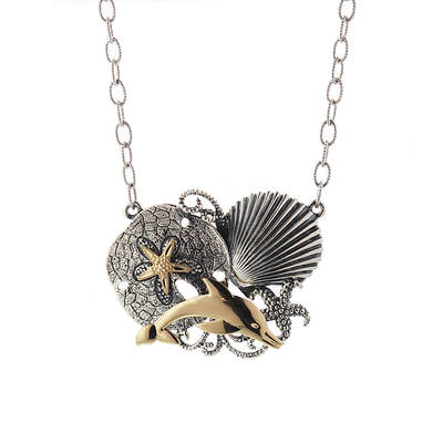Sterling Silver and 14K Yellow Gold Sea Life Necklace