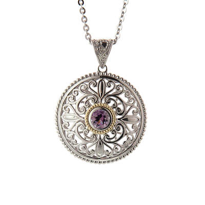 1.40 ct. t.w. Round 3-Dimensional Amethyst and Diamond Accent Pendant Necklace in Two-Tone