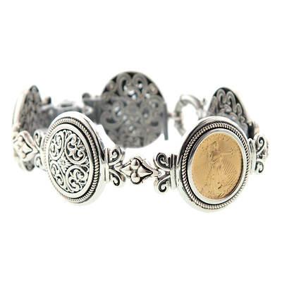 .10 Oz. 22K American Eagle Bullion Coin Bracelet in Sterling Silver