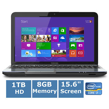 Toshiba Satellite Laptop, Intel Core i7, 8GB Memory, 1TB Hard Drive, 2GB Graphics