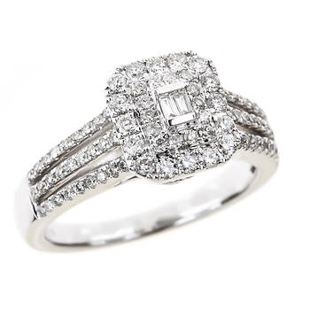.75 ct. t.w. Round and Baguette Diamond Fashion Ring in 14k White Gold