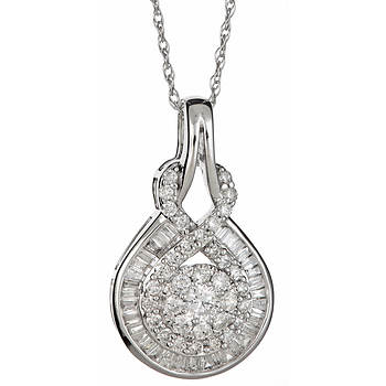 .95 ct. t.w. Round and Baguette Diamond Fashion Pendant Necklace in 14k White Gold