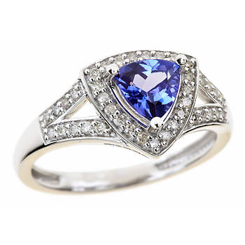 .60 Carat Trillion-Cut Tanzanite and .20 ct. t.w. Round Diamond Ring in 14k White Gold