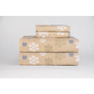 Pointehaven 100% Cotton Heavyweight Flannel Queen-Size Sheet Set - Oatmeal Snowflake