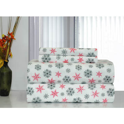 Pointehaven 100% Cotton Heavyweight Flannel Full-Size Sheet Set - White Snowflake