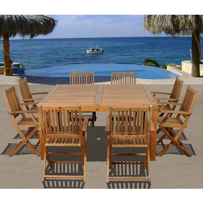 Amazonia Hawaii 9-Piece Teak Dining Set with Bonus Feron's Wood Sealer/Preservative
