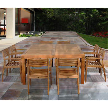 Amazonia Kauai 9-Pc. Teak Dining Set with Bonus Feron's Wood Sealer/Preservative