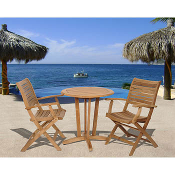 Amazonia Amelia 3-Piece Teak Bistro Set with Bonus Feron's Wood Sealer/Preservative