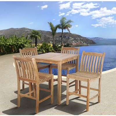 Amazonia Nevada 5-Piece Teak High Dining Set with Bonus Feron's Wood Sealer/Preservative