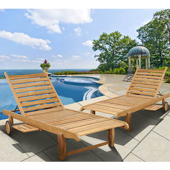 Amazonia Colorado Teak Chaise Lounge, Set of 2