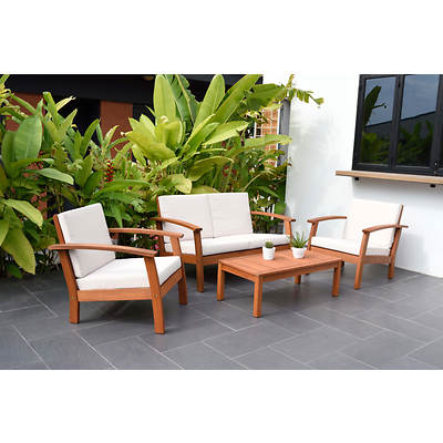 Amazonia Las Vegas 4-Piece Eucalyptus Patio Set with Bonus Feron's Wood Sealer/Preservative