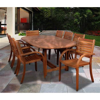 Amazonia Kentucky 9-Pc. Oval Eucalyptus Dining Set with Bonus Feron's Wood Sealer/Preservative