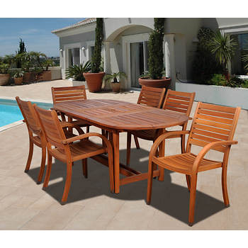 Amazonia Kentucky 7-pc. Oval Eucalyptus Dining Set with Bonus Feron's Wood Sealer/Preservative