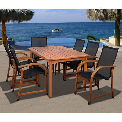 Amazonia Indiana 7-Piece Rectangular Eucalyptus Dining Set with Bonus Feron's Wood Sealer/Preservative