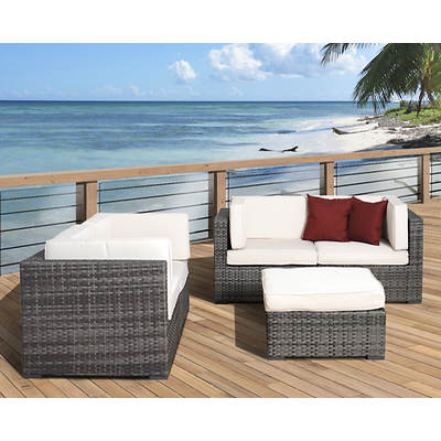 Atlantic Fullerton 5-Piece Patio Set with Bonus FeronGard Vinyl Preservative - Grey/Off-White