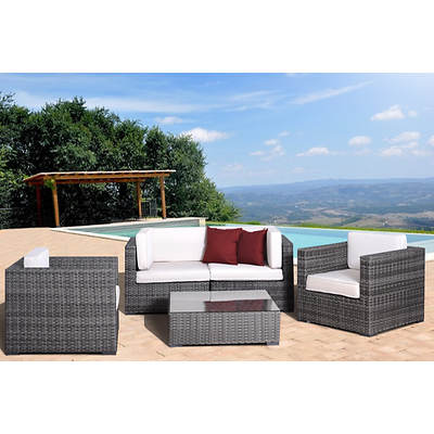 Atlantic Santa Cruz 5-Piece Patio Set with Bonus FeronGard Vinyl Preservative - Grey/Off-White