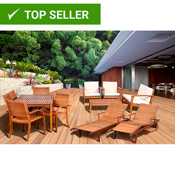Amazonia 13-Pc. Eucalyptus Patio Collection with Bonus Feron's Wood Sealer/Preservative