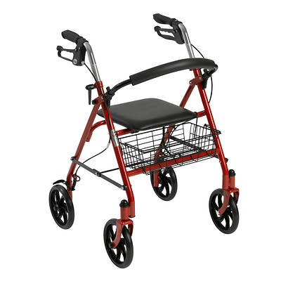 Drive Medical 4-Wheel Rollator with Fold-Up Removable Back Support - Red