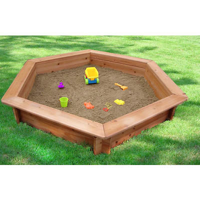 Creative Cedar Designs Hexagonal Sandbox with Lining and Cover