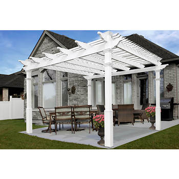 New England Arbors Renaissance 12' x 12' Pergola with Tall Base Molding and 14 Extra Shade Slats