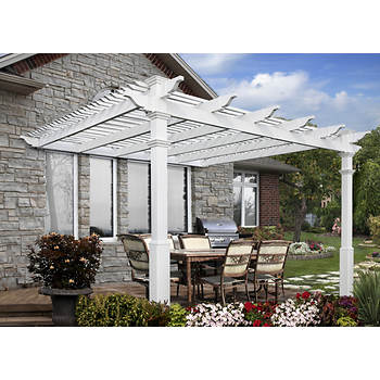 New England Arbors Atrium 12' x 12' Attached Pergola with Tall Base Molding and Shade Kit
