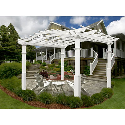 New England Arbors Riviera 10' x 10' Pergola with Tall Base Molding