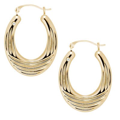 Select Gold Diamond Accent Oval Hoop Earrings in 14K Yellow Gold with Nano Diamond Resin