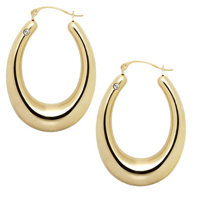 Select Gold Diamond Accent Graduated Oval Hoop Earrings in 14K Yellow Gold with Nano Diamond Resin
