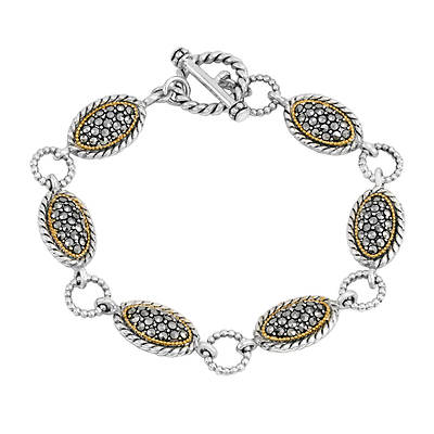 Victoria Crowne & Co. Marcasite Oval Bead and Rope Toggle Bracelet in Two-Tone