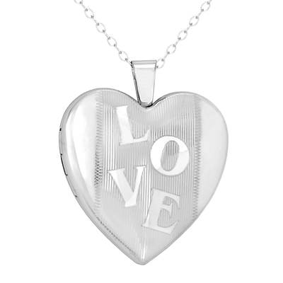 "Love Story Lockets Engraved ""Love"" Locket Necklace in Platinum-Plated Sterling Silver"