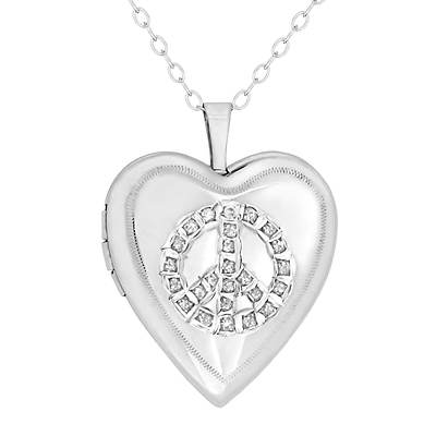Love Story Lockets Diamond Accent Peace Sign Locket Necklace Platinum-Plated Sterling Silver