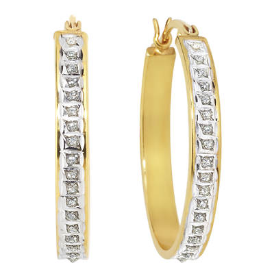 Diamond Mystique Diamond Accent Bold Oval Hoop Earrings in 18K Yellow Gold-Plated Sterling Silver