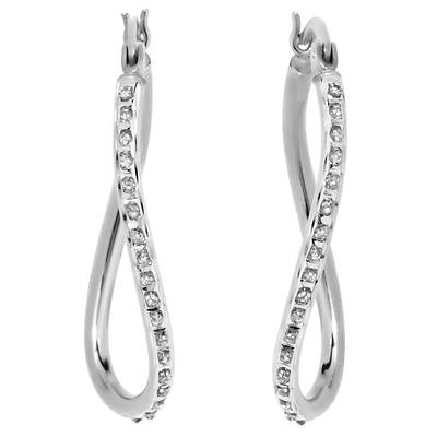 Diamond Mystique Diamond Accent Figure-8 Hoop Earrings in Platinum-Plated Sterling Silver