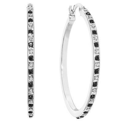 Diamond Mystique Black and White Diamond Accent Checkered Hoop Earrings in Platinum-Plated Sterling Silver