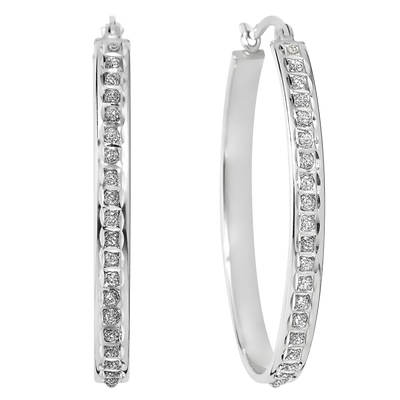 Diamond Mystique Diamond Accent Bold Oval Hoop Earrings in Platinum-Plated Sterling Silver