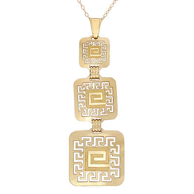 14K Yellow Gold Graduated Greek Key Pendant Necklace