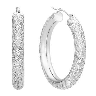 14K White Gold Diamond-Cut Bold Round Hoop Earrings