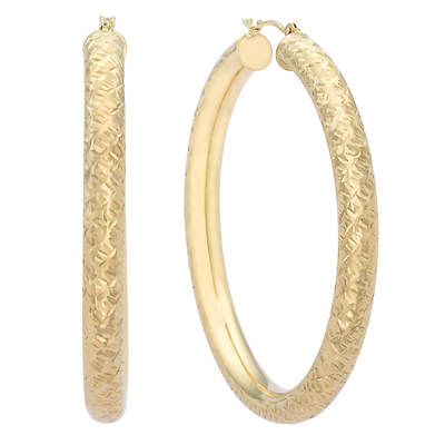 14K Yellow Gold Diamond-Cut Bold Round Hoop Earrings