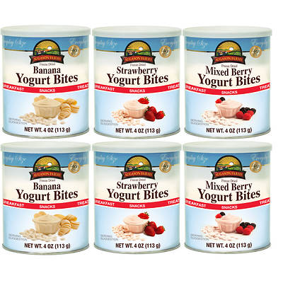 Augason Farms Freeze Dried Yogurt Bites Variety, 4-Oz. Can, 6-Pk