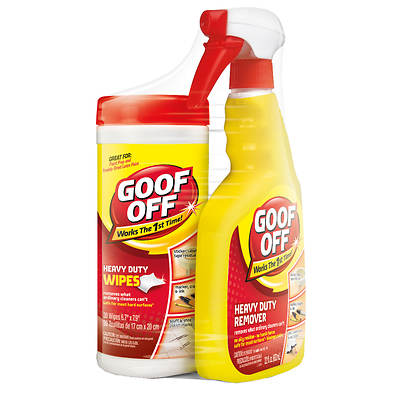 Goof Off Heavy Duty Remover, 22 Fl. Oz. Spray Trigger, with Heavy Duty Wipes, 30 Count