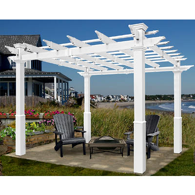 New England Arbors Bel Aire 8' x 8' Pergola with Tall Base Molding