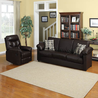Handy Living Renu Leather Convert-a-Couch Full-Size Sleeper Sofa and Recliner - Brown