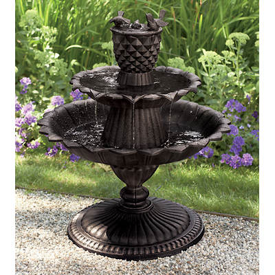 Living Home Outdoors Lighted Cast Aluminum Bird Bath Fountain