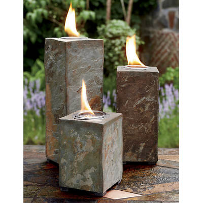 Living Home Outdoors Corsica Slate Fire Column, Set of 3